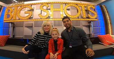 Mrs. Patricia Church, Channah Zeitung and Jose Aguiilar - her coaches since she was 2 1/2 - on the set of LITTLE BIG SHOTS