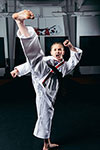 Channah Zeitung dong a front kick. She is a 4 time ATA World Champion Martial Artist.